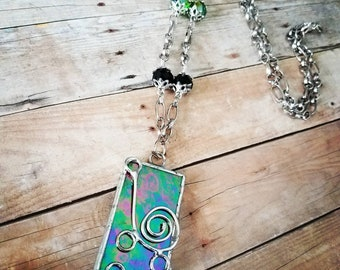 Stained glass multi colored necklace,stained glass jewerly, stained glass, necklaces, silver necklaces, necklaces