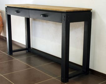 Solid wood console has 2 drawers