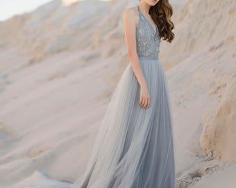 Tulle wedding skirt, bridal blue skirt