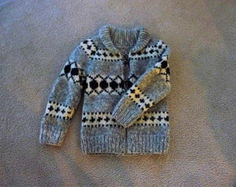 Vintage Cowichan Children's Sweater, Jacket. Handmade With Diamond Shapes