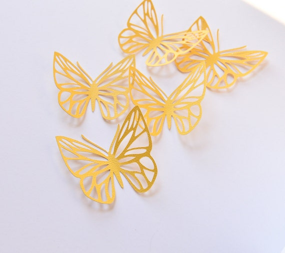 16 Yellow Butterflies Wall Art Large Paper Butterflies 3D