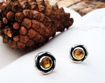 Citrine Rose - Sterling Silver Stud Earrings
