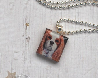Cavalier King Charles Spaniel Scrabble Necklace, Handmade Dog Scrabble Pendant, Dog Art, Wood Tile, Dog Lover Gift, CLEOPATRA the Cavalier