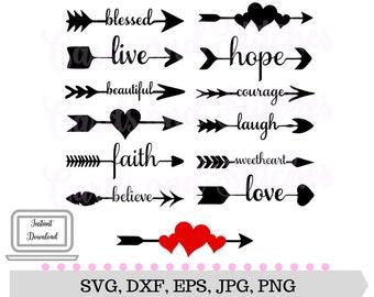 Arrow Words SVG - Arrows SVG - Decorative Arrows SVG - Digital Cutting File - Graphic Design - Instant Download - Svg, Dxf, Jpg, Eps, Png
