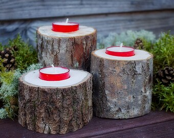 Set of 3  Rustic Wood Candle Holder Perfect for Rustic Country Woodland Wedding primitive tealight