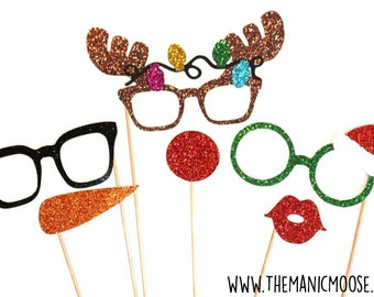 Christmas Photo Booth Props ~ 6 piece set ~ Santa's Helpers ~ GLITTER Photobooth Props