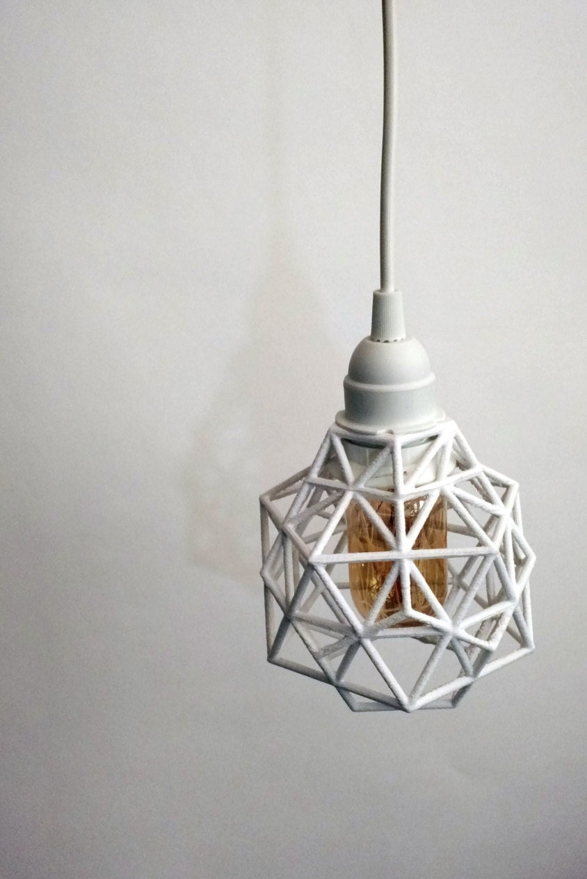 plug in light fixture pendant geometric design 3d printed. Black Bedroom Furniture Sets. Home Design Ideas