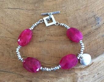Hot Pink Chalcedony Bracelet   Thai Hill Tribe Silver Bracelet   Bohemian Bracelet   Gemstone Bracelet