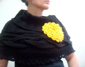 Knitting PATTERN Cabled Capelet Cape, Crochet Flower Pin Brooch, 57