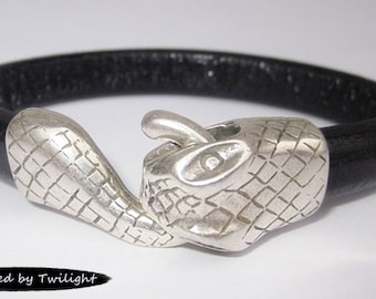 Leather Wrap Snake Bracelet - Black Regaliz Licorice Leather, Antique Silver Snake Clasp, Leather Cuff Bracelet