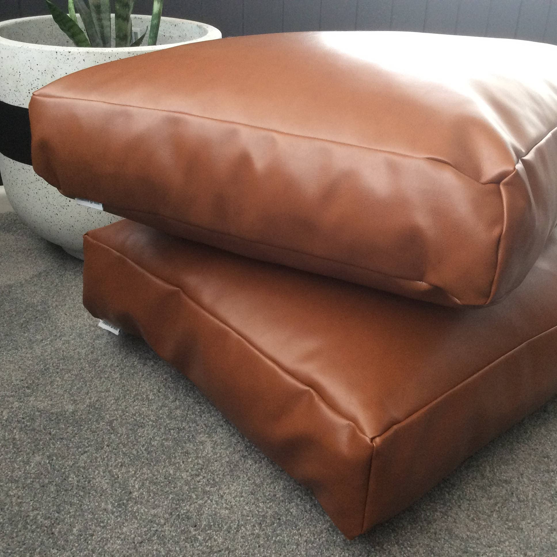Copper Tan Faux Leather Square Floor Cushion Cover