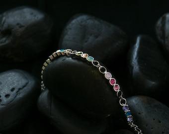 Kaleidoscope Solitare Bracelet - Swarovski Crystals set  in a