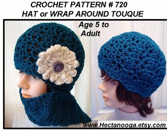 Hat CROCHET PATTERN - Or Wrap Around Toque, age 5 to adult, easy one skein project, pdf digital download.  Girls and  Women's accessories