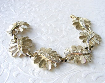 Sarah Coventry Vintage Rhinestone Bracelet Costume Jewelry Gold Leaves Flowers Leaf Flower Bridal Wedding Formal Cocktail Prom Pageant Prom
