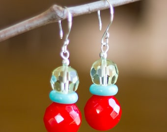 Bright Colorful Earrings Vintage Glass Beads Red Yellow Aqua Big Bold Statement Sterling