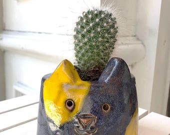 Cat Cactus Pot, Handmade Ceramic