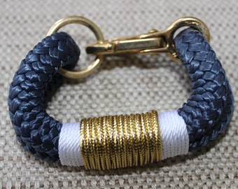Customized Maine Rope Bracelet - Navy Rope - White / Metallic Gold - Made to Order