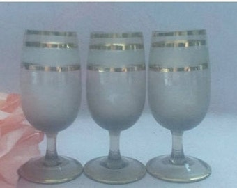 Mid Century Brandy Snifters,Set of 3, Bohemian Glass, Frosted with Gold Gilt Stripes, Gold Gilt Sherry Cordial Glasses,  Stemware,Set of 3