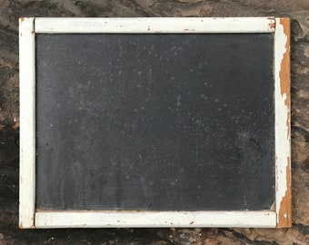 "18"" slate chalk board ~ antique blackboard ~ old chalk board ~ original ~ rustic wood frame with old slate~ great patina ~ farmhouse antique"