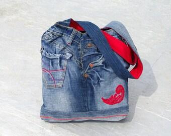 Denim Bag, Boho Handbag, Unique Handmade Bag, Bohemian Purse,Recycle Bag,Jeans Handbag,Hippie Bag, Fashion Bag, Gift Bag, Bohemian Gypsy Bag