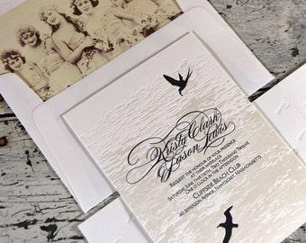 Nantucket Letterpress Wedding Invitation Suite (SAMPLE)
