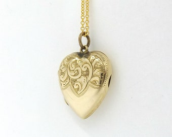 Victorian 9ct Gold Heart Locket | Antique 9ct Back And Front Locket | 9k Pendant Locket Necklace