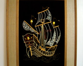 Vintage Ship Wall Hanging with Beads and Applied Decoration