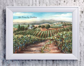 Napa Valley Art Print, Vineyard Wine Cellar Painting, Wine Decor, Wine Art Decor, 4 Sizes - 8x10 To 24x36, Warm Colors Green, Tuscan Decor