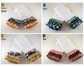 Ruffled Kitchen Towels, Decorative Kitchen Towels, Kitchen Linens, Great GIFT IDEA! SOLD in Pairs!
