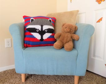 Striped Raccoon Pillow Cover