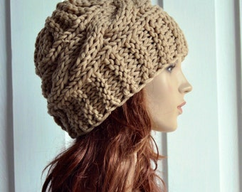 Hand Knit Hat Womens Hat Cable Beret Hat Wheat Chunky Knit hat - ready to ship