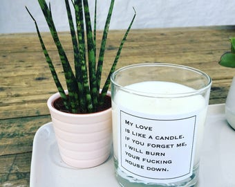 "Scented candle ""Burn"" - candle - scented candles - vegan - soy"