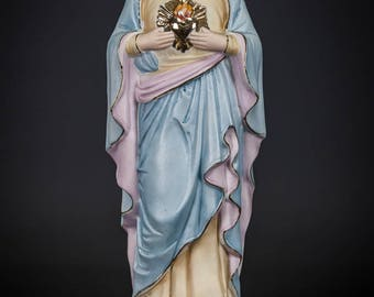 "13"" Antique Immaculate Heart of Blessed Virgin Mary Bisque Porcelain Statue 4"