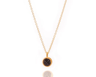 Druzy POP Necklace - Black Druzy in Yellow Gold - Druzy / Drusy Necklace - 24k Gold Vermeil - Small Round Druzy Drop Charm Pendant