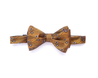 Self-tie reversible bowtie, gold with diamonds & gray waves, ilk selftie bow tie for Men, adult, classic wedding and groomsmen, graduation