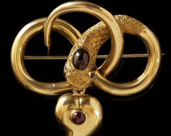 Antique Georgian 18ct Gold Garnet Snake Brooch Mourning Witches Heart