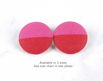 Pink Red Statement Earrings - Red Pink Fabric Covered Button Earrings