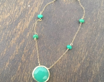 Chrysoprase Necklace - Green Gemstone Jewelry - Gold Jewellery - Chain - Beaded - Fashion