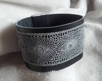 Grey Cuff Bracelet woman charcoal grey leather and lace