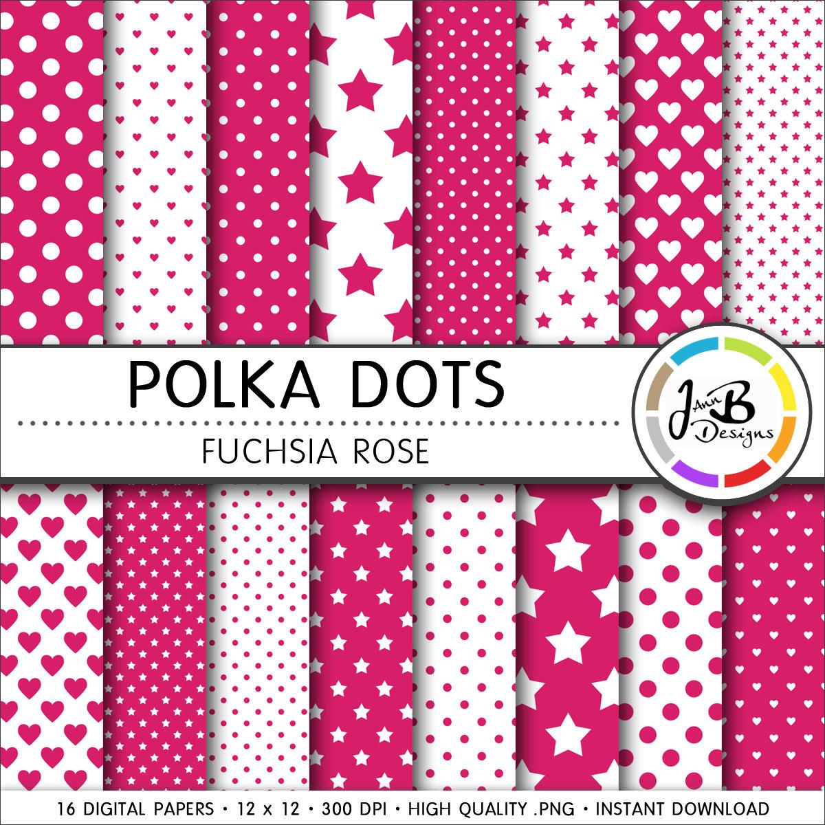 Papel Digital de lunares rosa fucsia rosa puntos