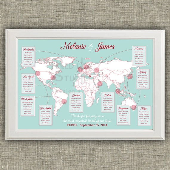 Travel theme wedding seating chart world map destinations gumiabroncs Choice Image