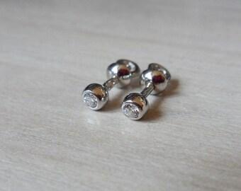 Cubic Zirconia Sterling Silver Stud Earrings Flower Bud
