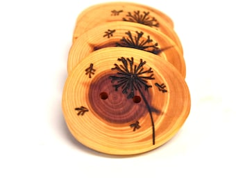 4 Cedar wood buttons, Tree branch buttons, wood buttons for knitting, crocheting, and sewing