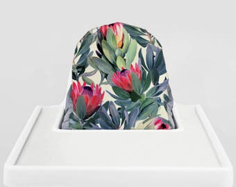 Painted Protea // IKEA Antilop Highchair Cover // High Chair Cover for the KLÄMMIG or PYTTIG Cushion // Pillow Slipcover