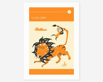 L is for LION (Giclée Fine Art Print/Photo Print/Poster Print) by Jazzberry Blue