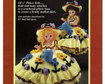 Mary Quite Contrary  Pillow Doll, Music Box Doll, or Bed Doll Crochet Pattern Fibre Craft FCM165