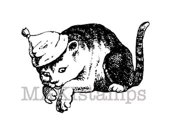 Cat rubber stamp / Cat with cap / Unmounted rubber stamp (130606)