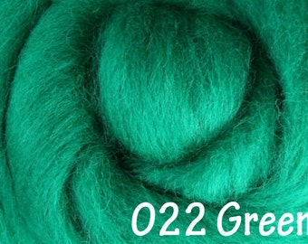 GREEN 10g NZ Ashford Corriedale Wool Top Silver Roving - Ship from USA