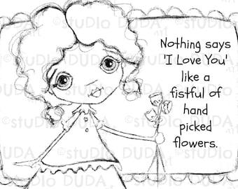 Fistful of Flowers 2 Versions Digital Stamp - Printable - Art to Color by STUDIODUDAART