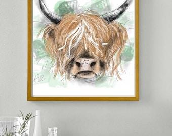 Framed highland cow print // highland cow art // highland cow print // highland cow home decor // highland cow wall art // cow print